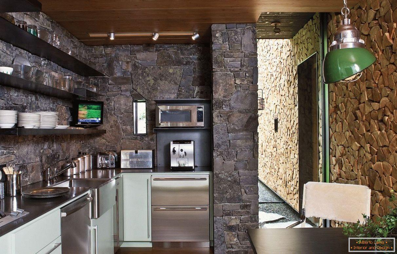 Dekorativni Kamen U Unutrašnjosti Kuhinje 70 Fotografija